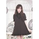 Dolly Delly Cross Printed Loose Short Dress for Girl Kawaii Short Sleeve Ruffled Chiffon Dress