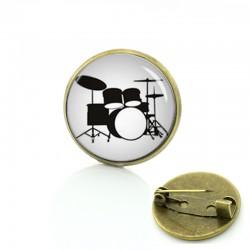 Dress Accessories Musical instrument picture pins Drums DJ Mixer Musician brooches Drum Kit Glass creative women men badge T595