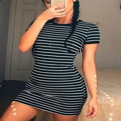 Dress Female Summer Dress Sexy Fashion Stripe Short Sleeve Bodycon Mini Dress Sarafan Dress Elegant Drop Shipping