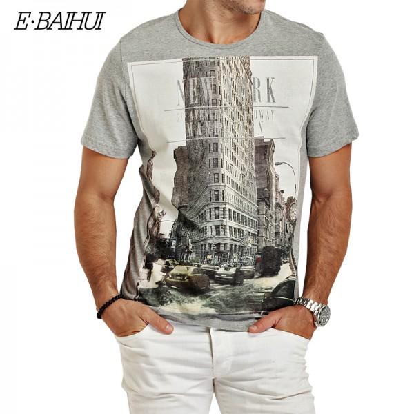 E-BAIHUI Brand t shirt  mens t shirts t shirt casual tops tees Fitness Men cotton T-shirts Camisetas Swag t shirt Y050