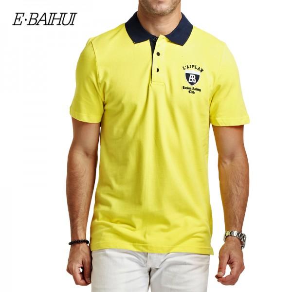 E-BAIHUI brand Summer style Men's Regular Slim Lapel  Embroidered Polo Shirts cotton men casual tops tees  man poloshirts  P009