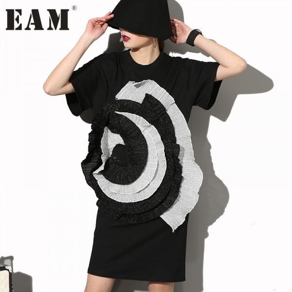 [EAM] 2017 Fashion New level Stereo Large Flowers round Neck Short-sleeved Black Dress Female Woman Big Size SM12731