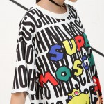 [EAM] 2017 Korean summer loose plus size XL-5XL fashion casual cartoon digital printing kit T-shirt dress female 5450