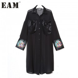 [EAM] 2017 Spring New Korean Women's Black Embroidery  Flowers PU Leather Shirt Dress Patchwork Cuff Chiffon Dresses T05401