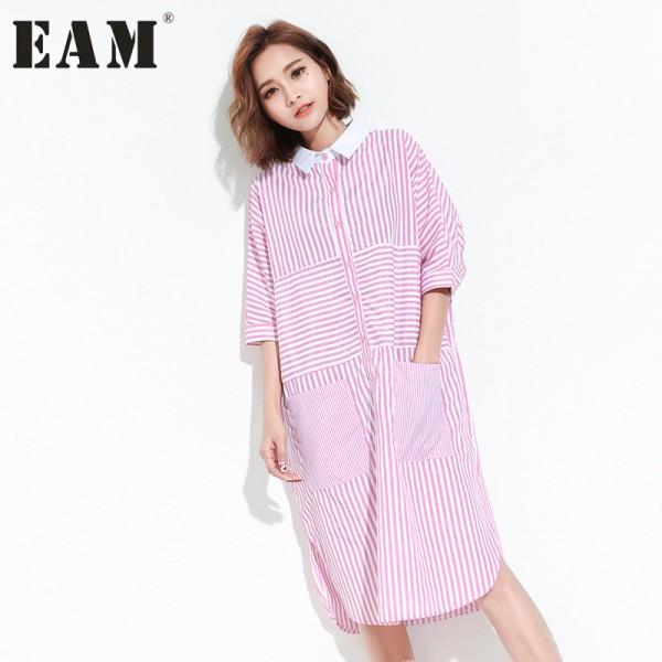 [EAM] 2017 Spring Summer Fashion New Half Sleeve Stripe Pocket Dress Leisure Split  Long Dresses Big Size Woman T20401