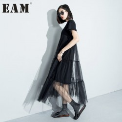 [EAM] 2017 Summer Europe and solid color stitching loose short-sleeved swing perspective gauze dress women wholesale 3361