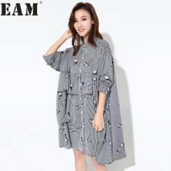 [EAM] 2017 summer  summer Fashion New Balck Blue Chiffon Printed Dress Korean Cake Ruffles Striped Dress Woman T08901