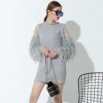 [EAM] new Fashion stitching knitting lantern sleeves  long-sleeved gray color short dress women temperament tide 1KTQ