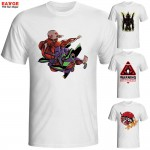 [EATGE] Exclusive Creative Neon Genesis Evangelion In Ray Red Eye T Shirt White EVA T-shirt Fashion Brand Printed Tshirt Men