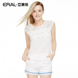 ERAL Women's Summer New Arrival Sleeveless Chiffon O-neck Hollow Out Casual Brief Top ERAL31040-EXAC