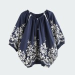 Elastic Neck Floral Embroidery Cotton Shirts Blouses Women Lantern Sleeve Oversize Two Way Tops Navy