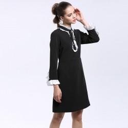 Elegant Dress 2016 Summer New Fashion Good Ruffled Collar Butterfly Sleeve Knee Length Black / White Dress