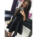 Elegant Women Mini A Line Dress 2016 Autumn Round neck fashion Vintage party Big Swing Midi Black Red Grey Sexy Dress S M L XL