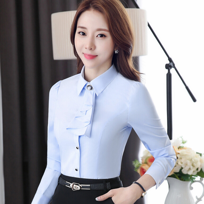 694e639bd81 Fashion women long-sleeve slim shirt OL Brooch with tie slim chiffon blouse  female clothes plus size office formal tops