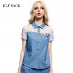 Elf SACK z summer female 2016 sweet patchwork organza slim denim shirt female short-sleeve