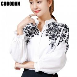Embroidery Blouse Shirt Cotton Linen Women Blouses Camisas Femininas Korean Flower Embroidered Tops 2016 Fashion Female Clothing