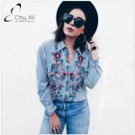 Embroidery Female Blouse Shirt Casual Blue Striped Shirt 2017 Autumn Winter Cool Long Sleeve Blouse Women Tops Blusa S006