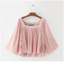 Ethnic Metal Hole Lacing up Pullover Shirt Woman Strappy Lace On front Blouse Tops blusas chemise femme 3 colors