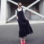 Europe Women Lotus Leaf Stitching Strap Dress Korean Tassel Fishtail Dress Boy Harness Dress Autumn New Denim Dress