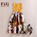 FANSGE Fashion Retro Vintage 50s Women O-Neck Sleeveless Sexy Vest Dress Summer Character Print Midi Dress Casual Dresses Jurken