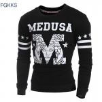 FGKKS New Hoodies Brand High Quality Pullover Hoodies Men O-Neck Long Sleeve Men Pullovers Splice Letter Fashion Slim Men Hoodie