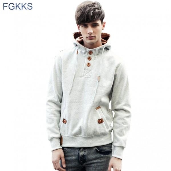 FGKKS New Spring Men Hoodie High Quality Thick Warm Velvet Fashion Design Hoodies Sweatshirts Men Casual Hoody Moleton Masculino