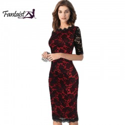 Fantaist Women Vintage Scalloped Elegant Cocktail Party Formal Business Office Work Bodycon Pencil Midi Full Floral Lace Dress