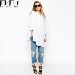 Fashion 2018 Blouse Women Spring Autumn Bf Style White Shirt Women Tops Solid Color Long Sleeve Loose Casual Blouses Plus Size