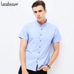 Fashion Brand Clothing Mens Short Sleeve Shirt 2018 Summer New Mandarin Collar Slim Fit Shirt M-5XL Casual Shirt Men Clothes