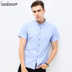 Fashion Brand Clothing Mens Short Sleeve Shirt 2018 Summer New Mandarin Collar Slim Fit Shirt M-5XL Casual Shirt Men Clothes