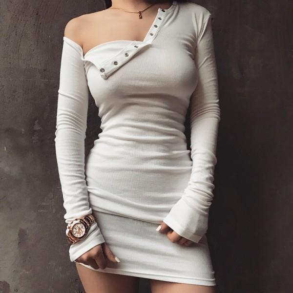 Fashion Design Women One Shoulder Bodycon Mini Dress Sexy Front Buttons Rib Dresses Long Sleeve Party Mini Dress vestidos