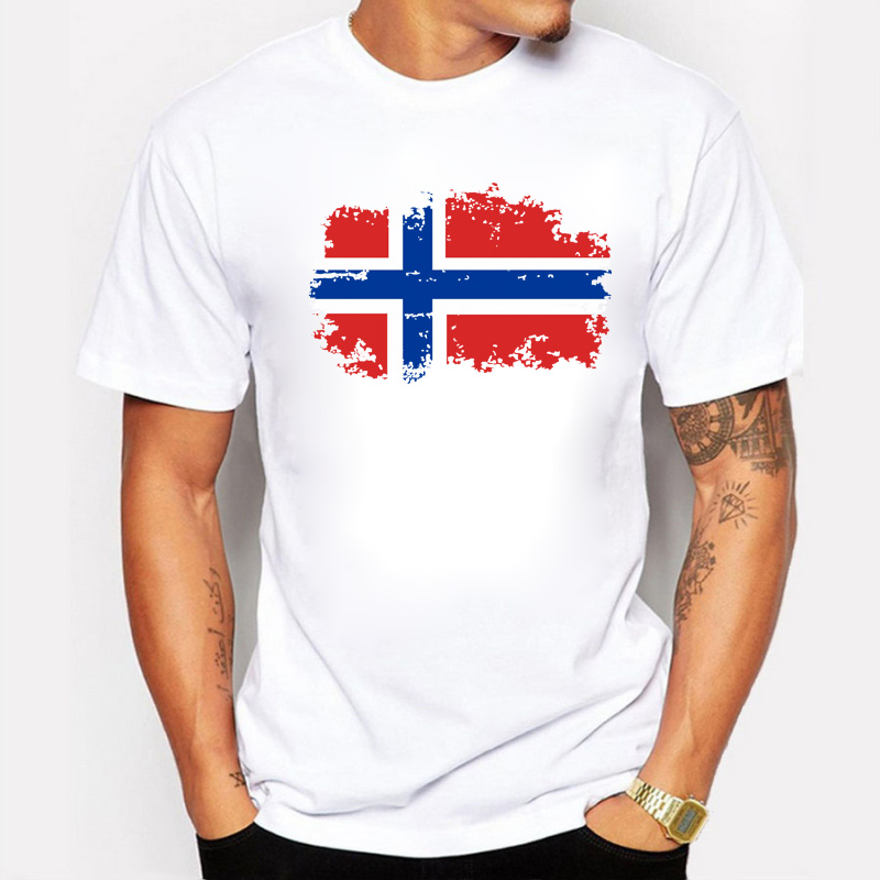 Fashion European Cup Norway National Flag Design T shirts For Men 100%  Cotton Short Top & Tee Nostalgic Amazing T-shirt Men