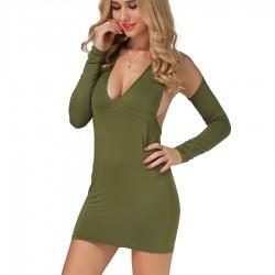 Fashion New Arrival Elegant Long Sleeve Knitted Women Summer Sexy club Mini Dress Party Dress Slim halter solid deep V Dress