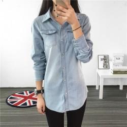 Fashion Women Blouse Spring Autumn Casual Shirts Camiseta de mujer Long Sleeve Denim Jeans Tops Casual Women Shirt  Blusa Mujer