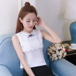 Fashion Women Blouses sleeveless Shirt Women chiffon Blouse Summer Tops Women shirts clothing blusa white Lace Blouse