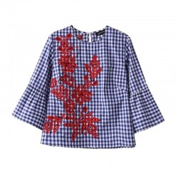 Fashion Women Floral embroidery Flare Sleeve Plaid Shirts Cotton Blouses Casual Tops chemise femme blusas S1015