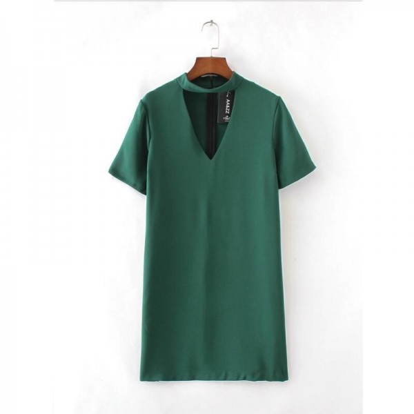 Fashion Women Solid color V type hollow Mini Dresses Short sleeve Work Casual Elegant Dress Womens Clothing D615