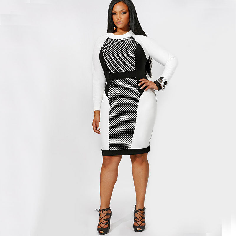 Fashionable Women Dresses Big Size New 2017 Plus Size Women Stitching  Winter Dress Slim O-neck Gauze Office Bodycon Dress