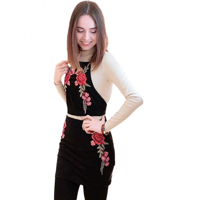 Flower Embroidery Suede Bodycon Dress Suit Vintage Two Piece Suit
