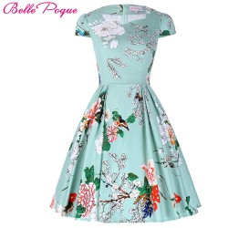 Flower Summer Women Dress Vintage Cap Sleeve Floral 1950s Flare A-Line Party Jurken Audrey Hepburn 50s 60s Vintage Dress 2017