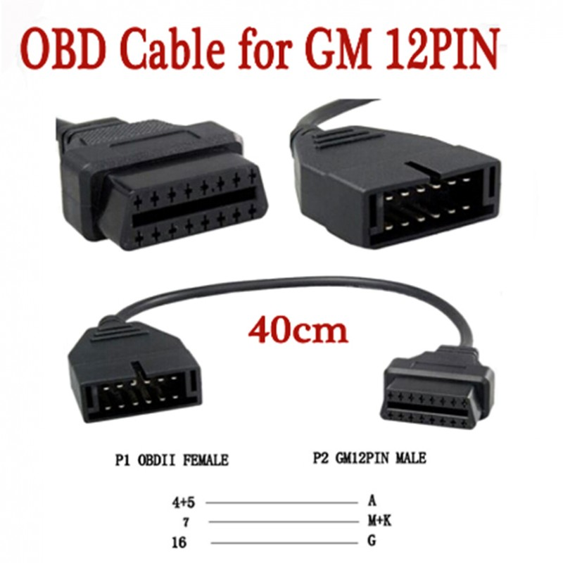 For G M 12 Pin 12Pin OBD 2 Connector Adapter for gm12 pin