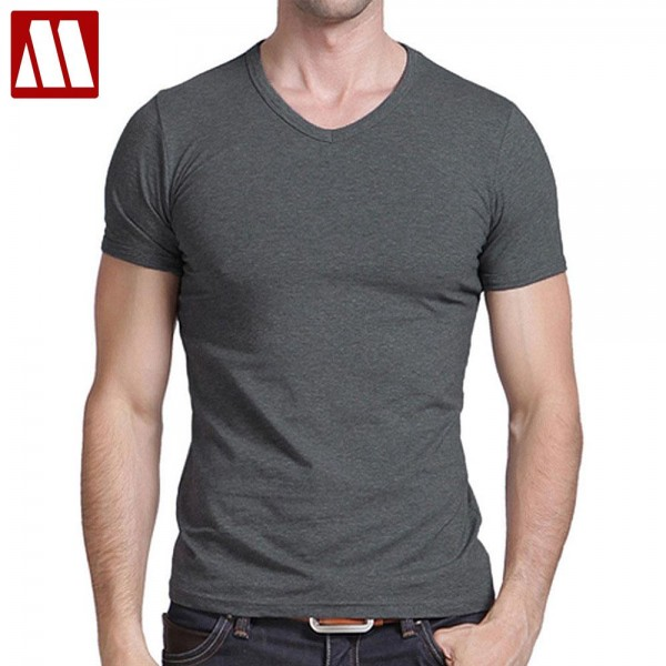 Free Shipping 2017 summer Hot Sale Cotton T shirt men's casual short sleeve V-neck T-shirts black/gray/green/white S-5XL MTS181