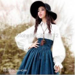 Free Shipping 2018 New Fashion White Cotton Shirts For Women Turn Down Collar Shirts Long Lantern Sleeve Royal Blouses Tops XL