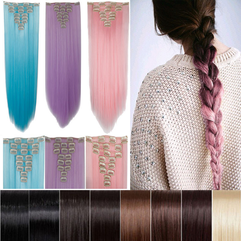 Free Shipping 26 66cm Women Long Straight Clip In Hair Extentions