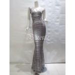 Free Shipping! Elegant Sexy Vneck Oil Print Embellished Flared Bottom Gown HL Celebrity Maxi Long Bandage Dress