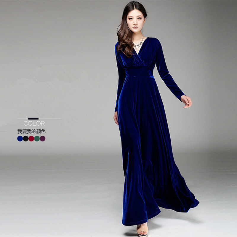 Free Shipping New Fashion Plus Size S 3xl Stretch Velour Dresses For