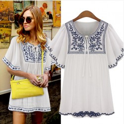 Free Shipping Plus Size Women 2017 Fashion Short Sleeve Round Neck Embroidered Chiffon Boho Hippie Peasant Mexican Blouse
