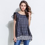 Free shipping2017 Summer female plaid chiffon shirt elegant tops casual blouse faux two loose women plus size camisa XXXXXL 3012