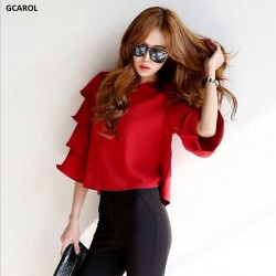 GCAROL Women New Arrival Korean Style Petal Blouse Fashion Causal 3/4 Sleeve Clothing Summer Spring Streetwear Girl's Tops