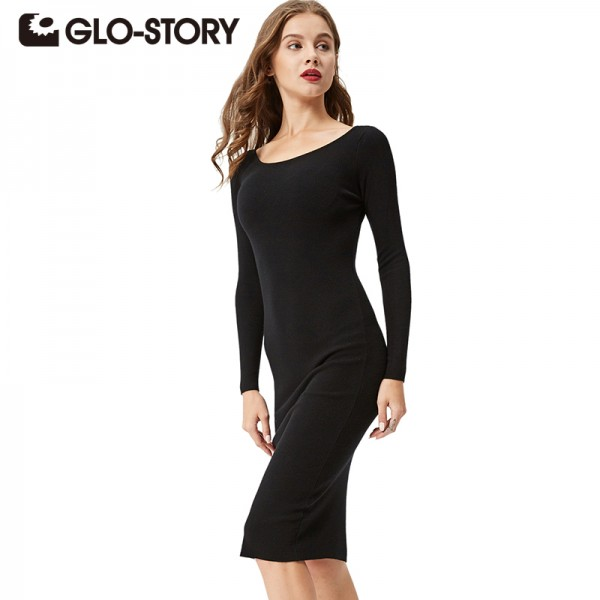 GLO-STORY Women Dress 2017 New Autumn fashion elegant long sleeves Dresses Women Clothing Sexy Party Bodycon Sweater Dress 2617